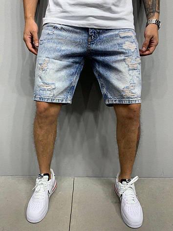 Шорты мужские джинсовые голубые рваные, фото 2