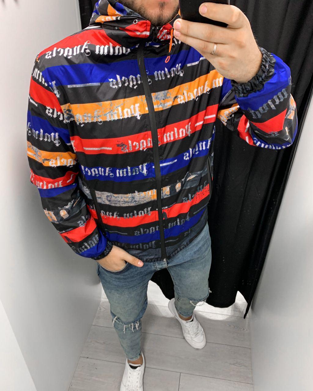 Куртка ветровка мужская стильная черная  на молнии с капюшоном с принтом Palm Angels Турция