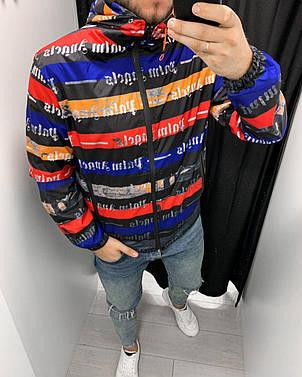 Куртка ветровка мужская стильная черная  на молнии с капюшоном с принтом Palm Angels Турция, фото 2