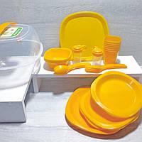 Набір пластикового посуду для пікніка багаторазовий 6 персон
