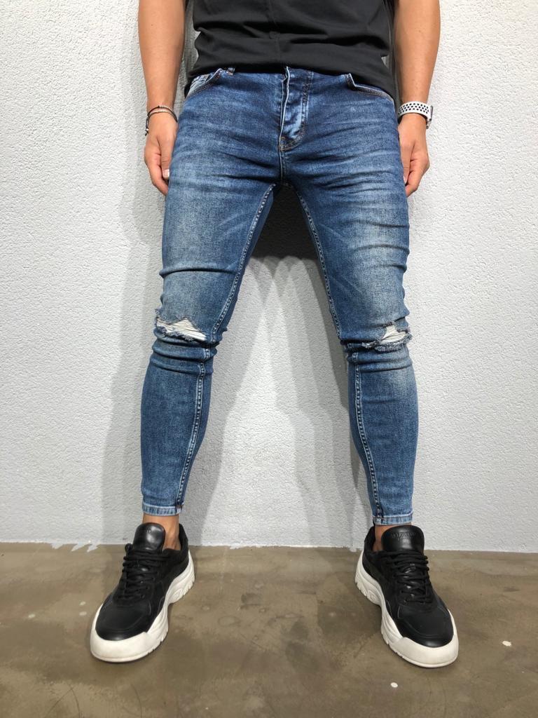 Джинси чоловічі сині рвані стильні завужені