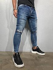 Джинси чоловічі сині рвані стильні завужені, фото 2