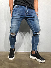 Джинси чоловічі сині рвані стильні завужені, фото 3