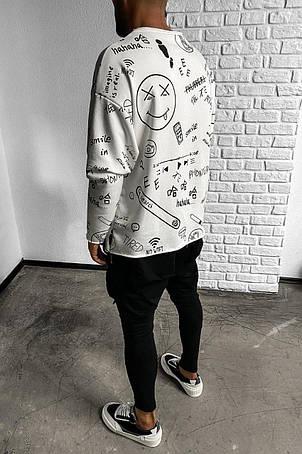 Толстовка худі лонгслив чоловіча біла з принтом стильна молодіжна хайповая, фото 2