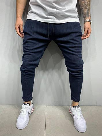 Спортивные штаны брюки мужские стильные повседневыне синие Турция, фото 2