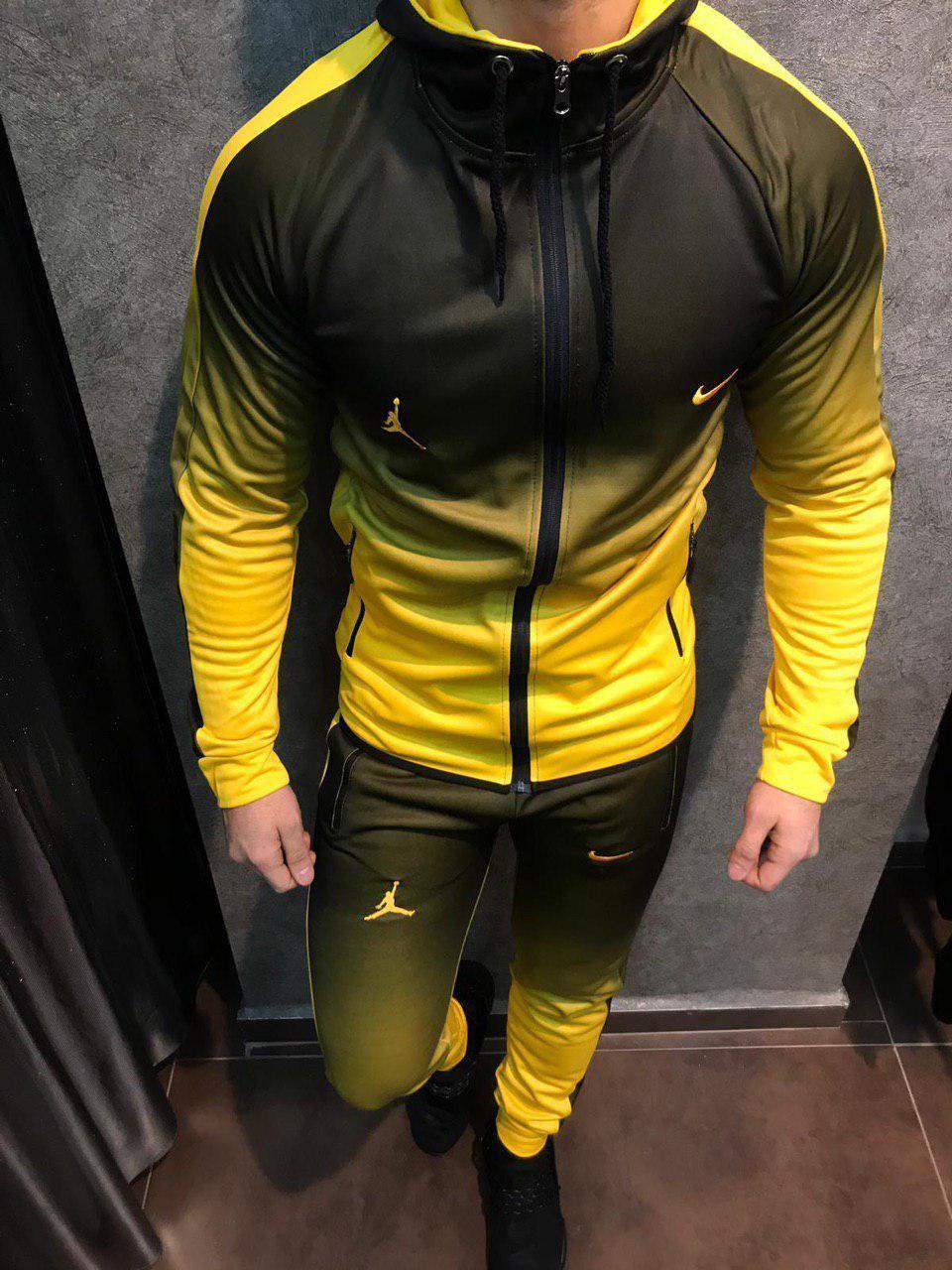 Спортивний костюм Найк ейр джордан звужений чоловічий градієнт чорний з жовтим