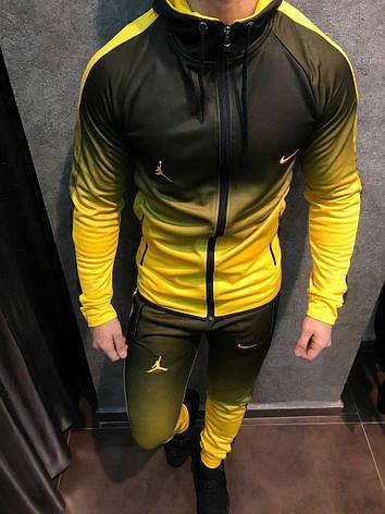 Спортивний костюм Найк ейр джордан звужений чоловічий градієнт чорний з жовтим, фото 2