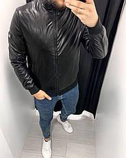 Куртка-бомбер шкіряна чорна стильна на блискавці на синтепоні Туреччина, фото 2