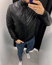 Куртка-бомбер шкіряна чорна стильна на блискавці на синтепоні Туреччина, фото 3
