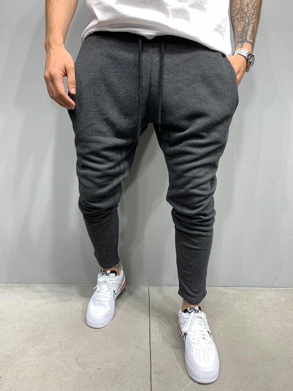 Чоловічі спортивні штани штани з цупкого матеріалу, сірі стильні укорочені Туреччина
