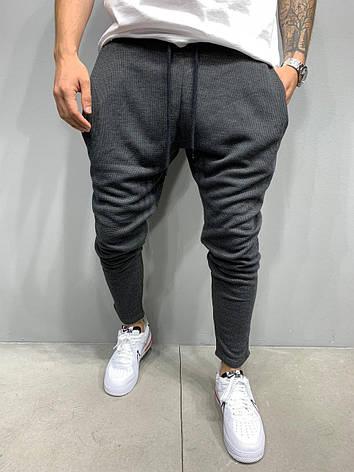 Чоловічі спортивні штани штани з цупкого матеріалу, сірі стильні укорочені Туреччина, фото 2