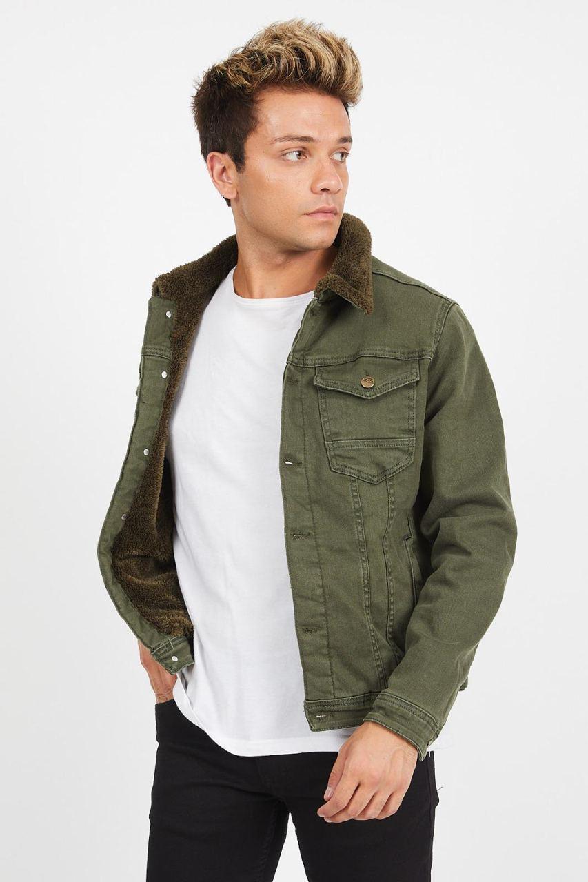 Куртка мужская джинсовая на меху хаки зелёная рукав на синтепоне Турция