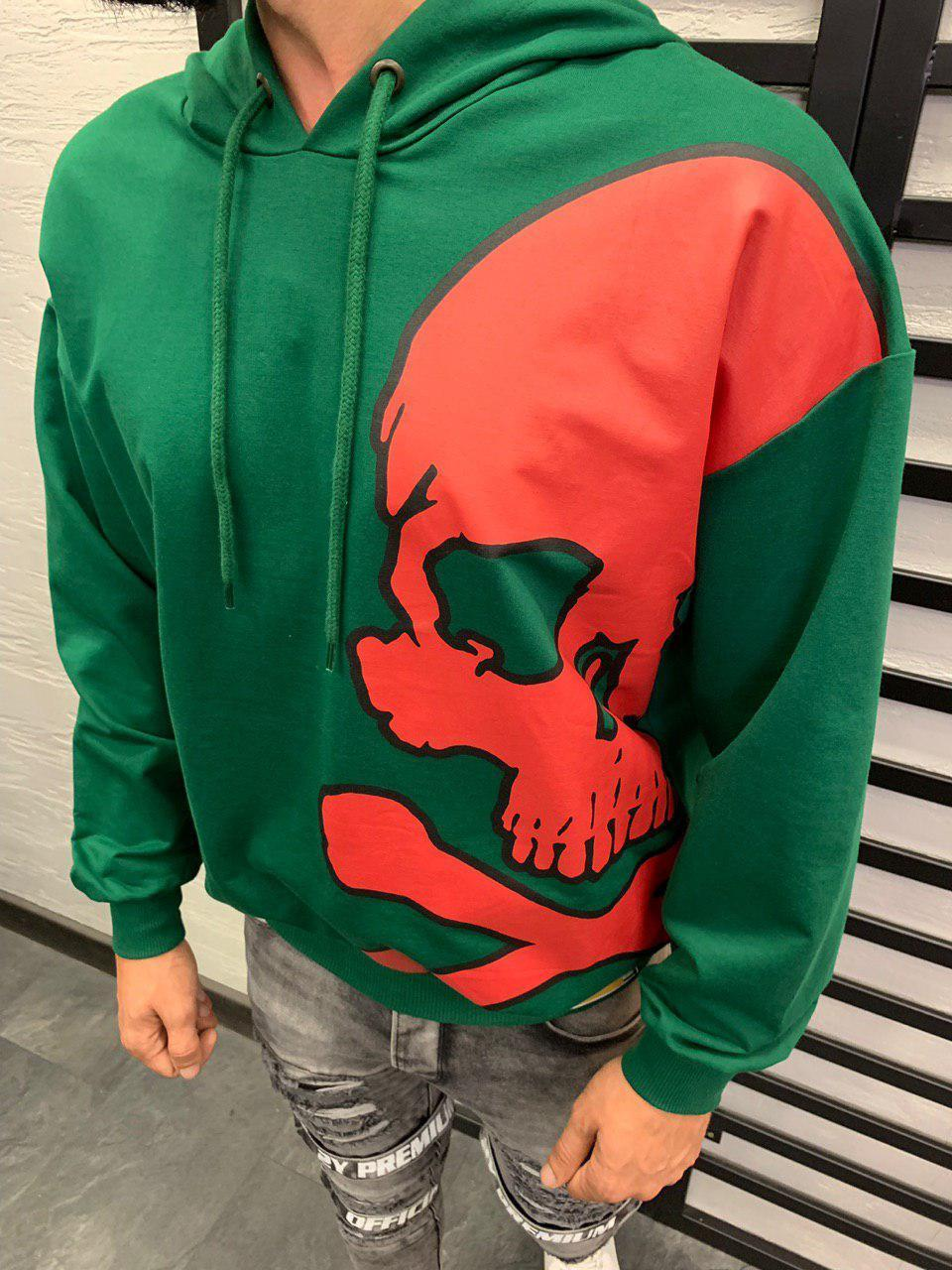 Найкрутіший чоловічий худі світшот оверсайз зелений+червоний з принтом, з капюшоном