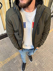 Куртка чоловіча стильна тепла з каптуром на блискавці хакі з хутром однотонний, фото 2