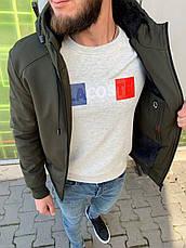 Куртка мужская стильная тёплая с капюшоном на молнии хаки с мехом  однотонный, фото 3