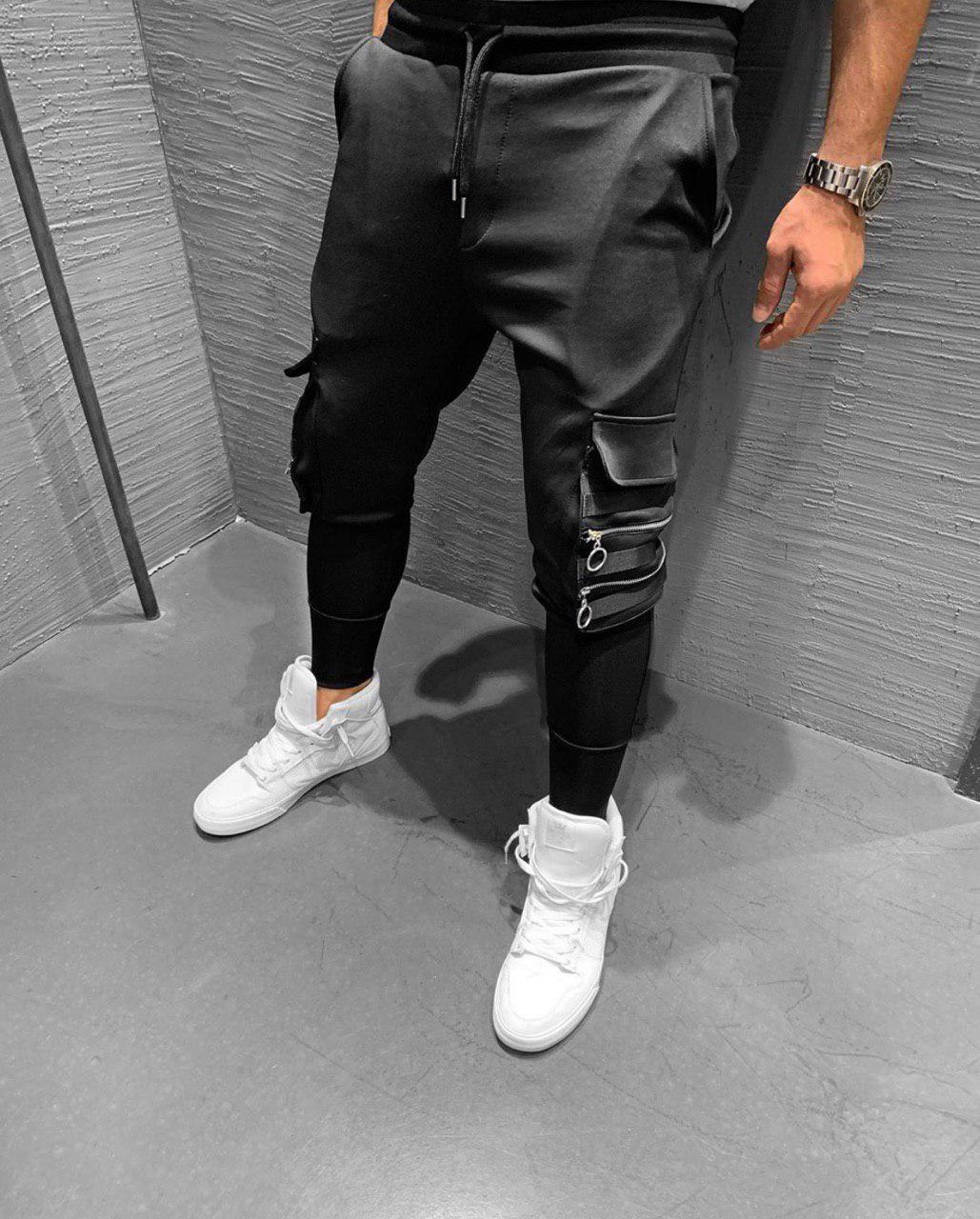 Спортивные штаны мужские стильные с карманами чёрные