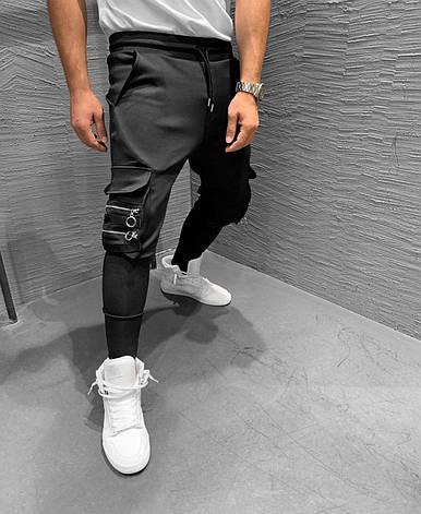 Спортивные штаны мужские стильные с карманами чёрные, фото 2