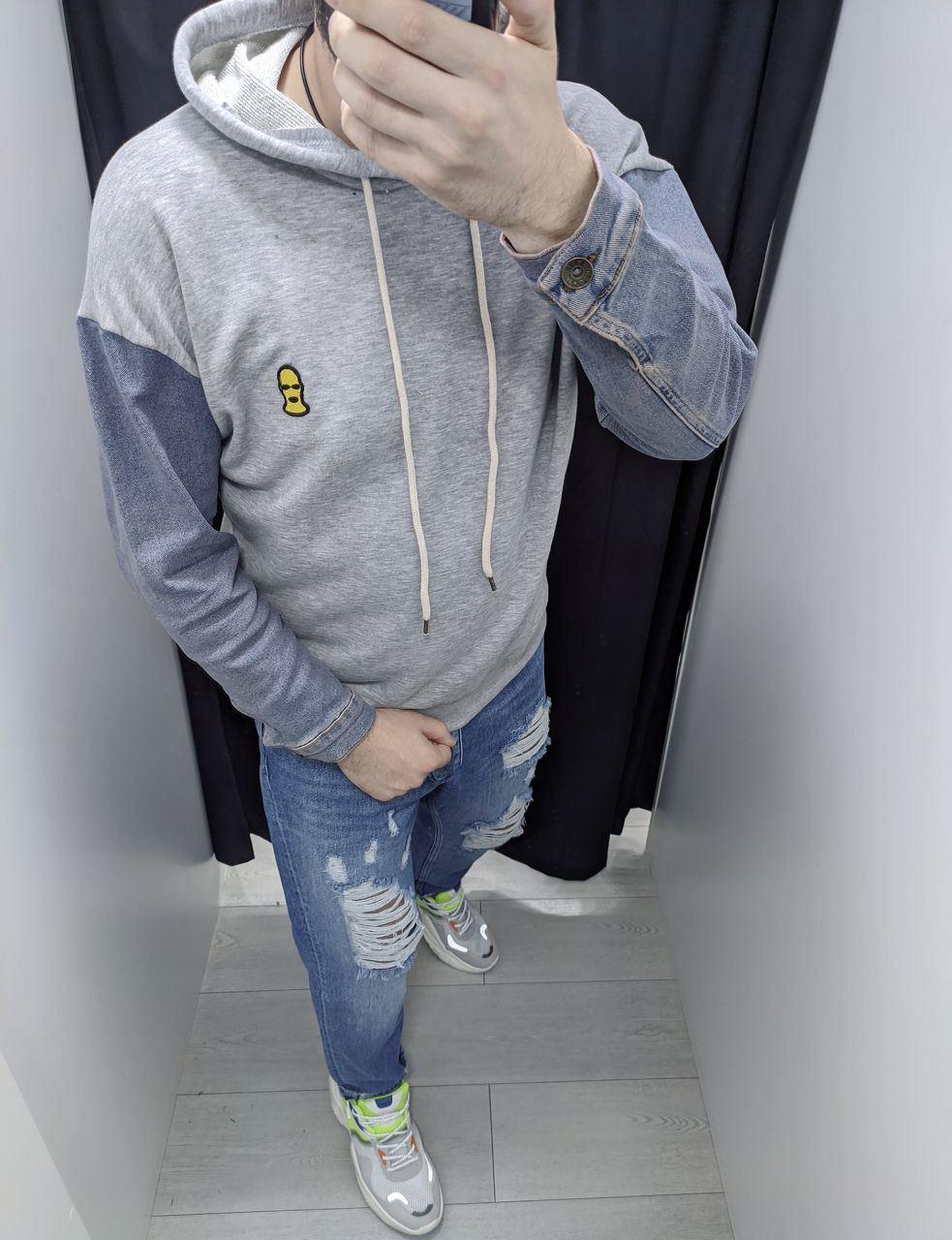 Толстовка худі кенгуру чоловіча з капюшоном з джинсовими рукавами , кольори: білий, сірий, жовтий