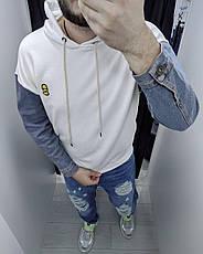 Толстовка худі кенгуру чоловіча з капюшоном з джинсовими рукавами , кольори: білий, сірий, жовтий, фото 3