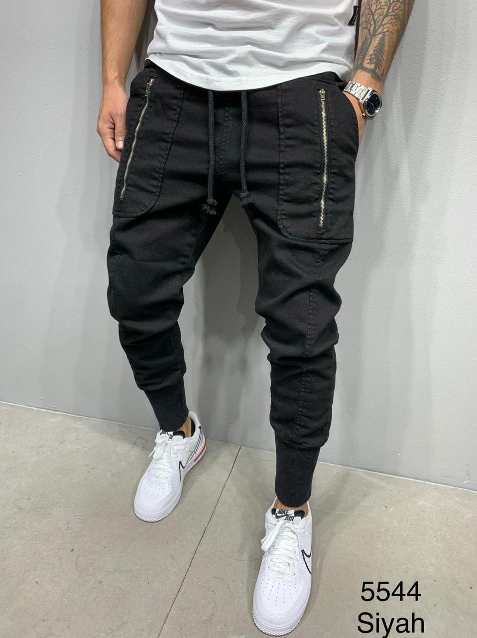 Джинси-джоггеры чоловічі стильні чорні з кишенями на манжетах Туреччина