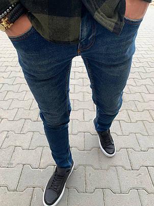 Джинсы мужские синие однотонные стильные зауженные, фото 2