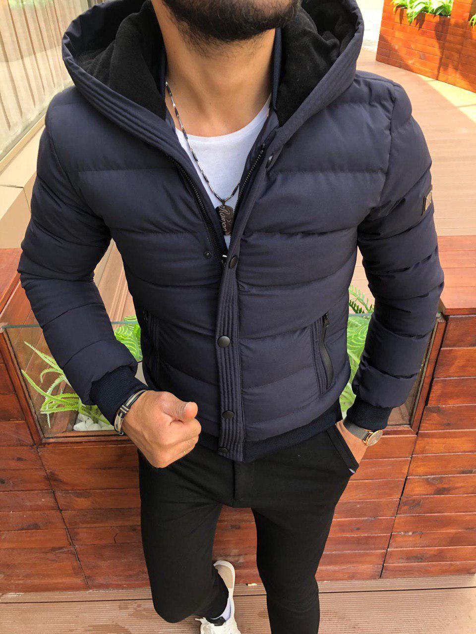 Куртка мужская зимняя с капюшоном стильная синяя