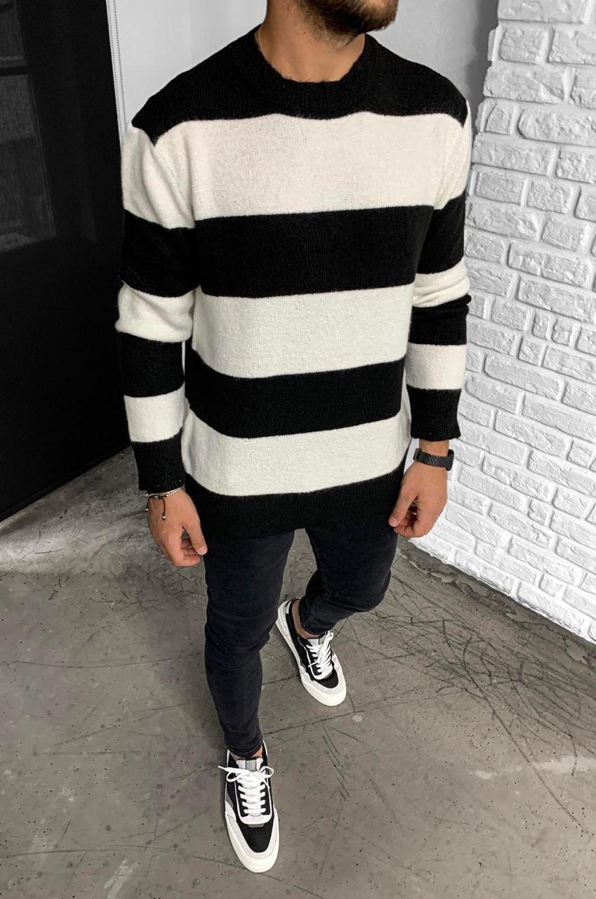 Кофта свитер пуловер мужской в полоску оверсайз: черно-белый, черно-серый, белый с бежевым, белый с серым