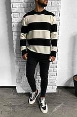 Кофта свитер пуловер мужской в полоску оверсайз: черно-белый, черно-серый, белый с бежевым, белый с серым, фото 2