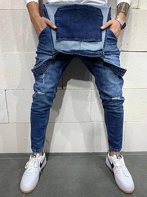 Комбинезон мужской джинсовый синий с царапками стильный зауженный молодёжный, фото 2
