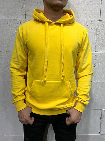 Толстовка худі кенгуру чоловіча жіноча унісекс однотонна з капюшоном стильна з зав'язками молодіжна жовта, фото 2