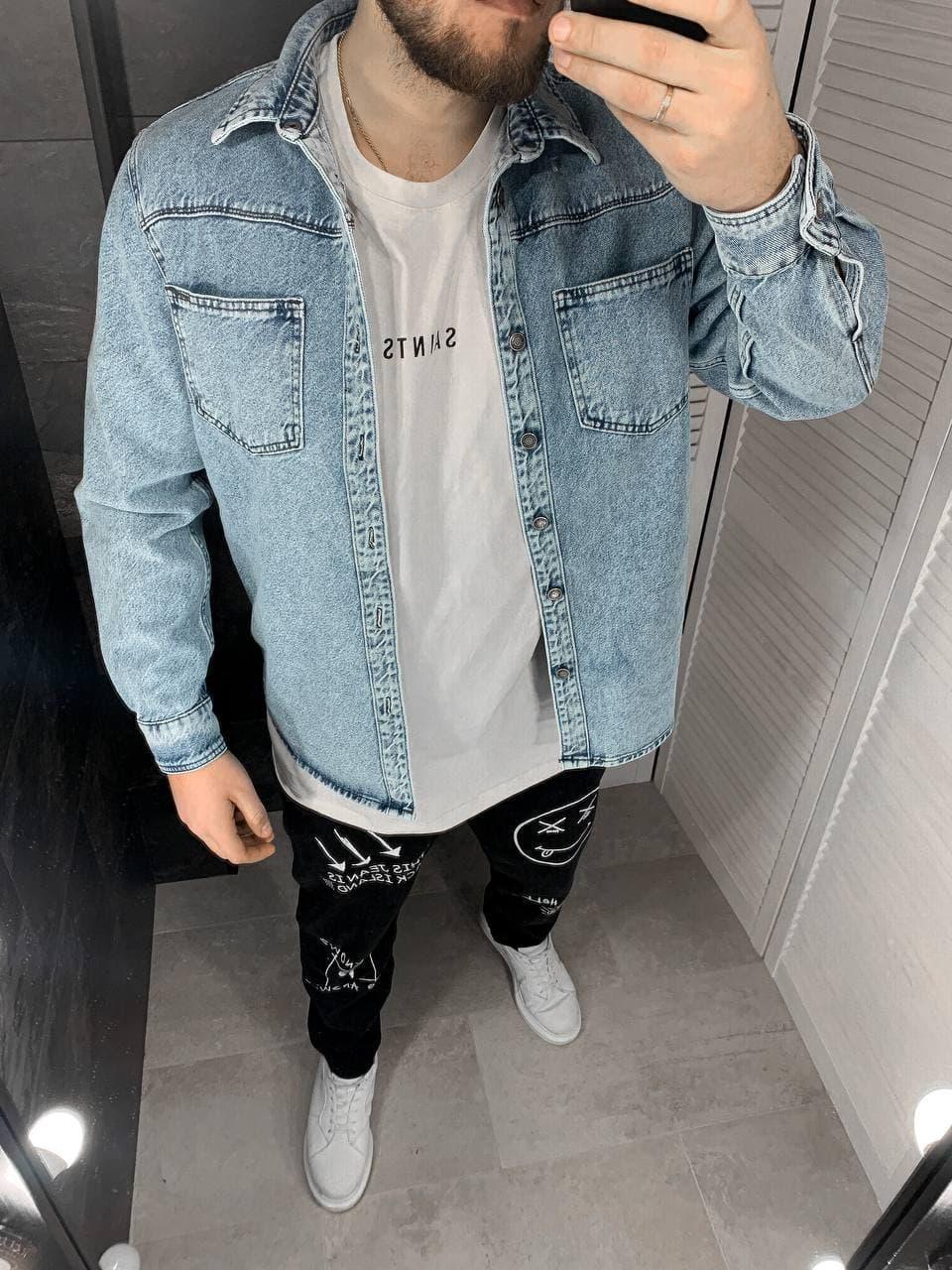 Куртка чоловіча джинсова блакитна оверсайз на гудзиках