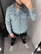 Куртка чоловіча джинсова блакитна оверсайз на гудзиках, фото 3