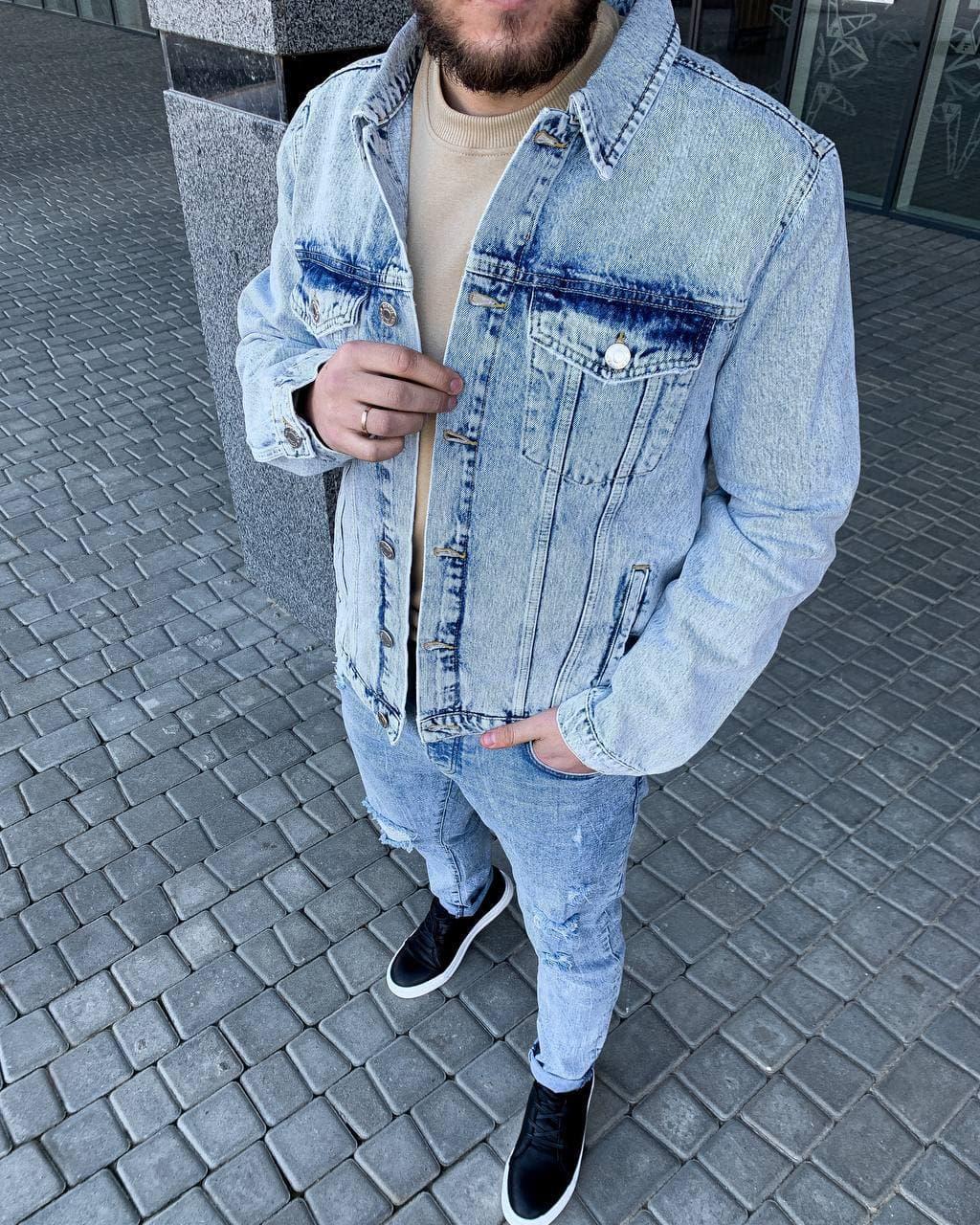 Куртка мужская джинсовая голубая варенка на пуговицах