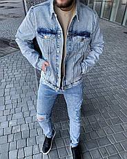 Куртка мужская джинсовая голубая варенка на пуговицах, фото 3