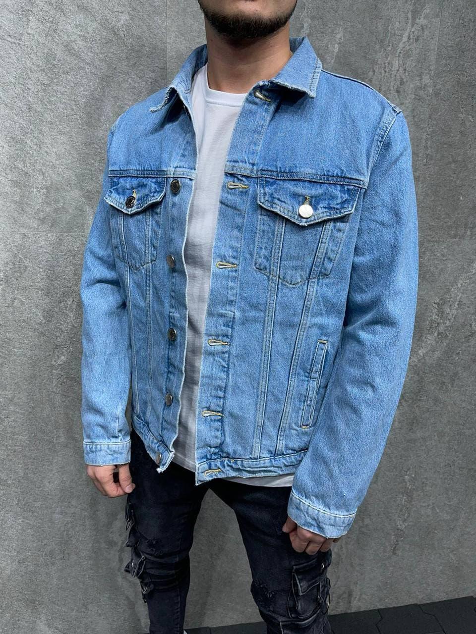 Куртка мужская джинсовая голубая на пуговицах