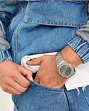 Куртка чоловіча джинсова блакитна на манжетах з сірим капюшоном і рукавами, фото 3