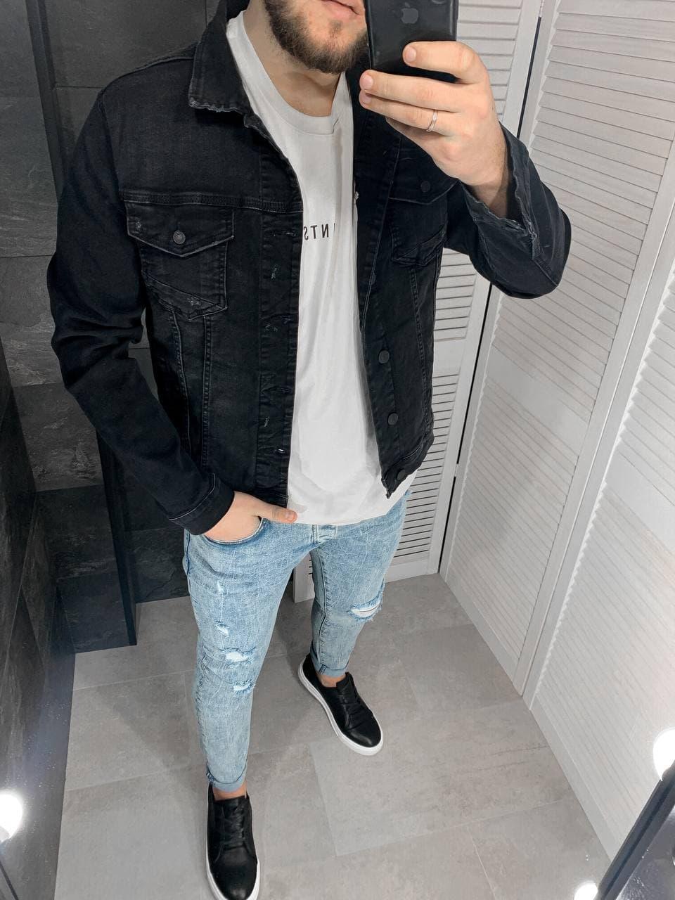 Куртка мужская джинсовая черная однотонная