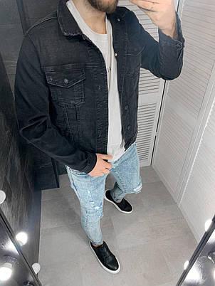 Куртка мужская джинсовая черная однотонная, фото 2