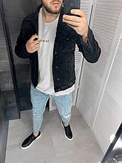 Куртка мужская джинсовая черная однотонная, фото 3