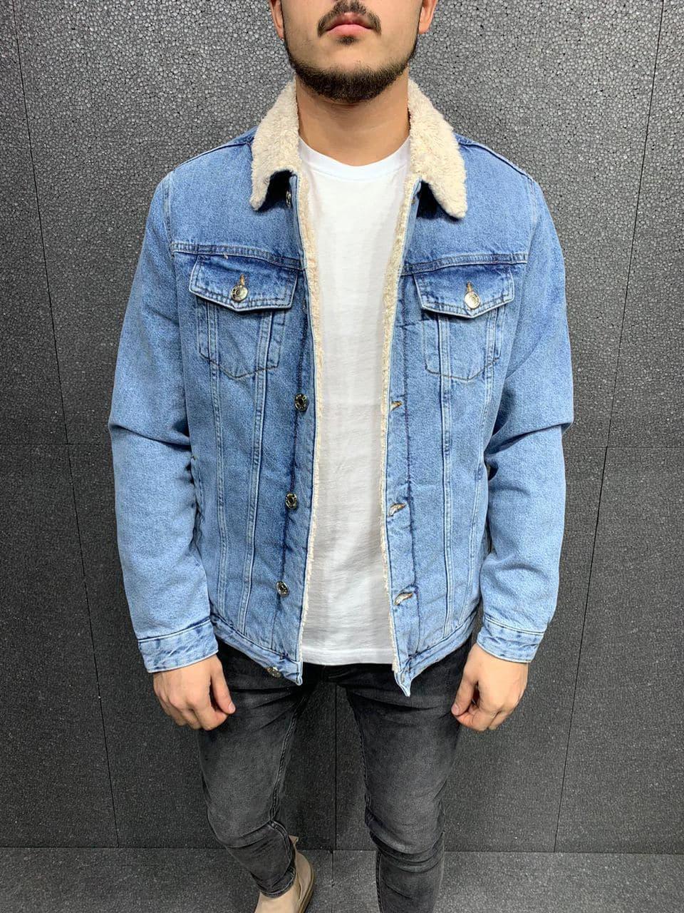 Куртка чоловіча джинсовий на хутрі блакитна стильна Туреччина