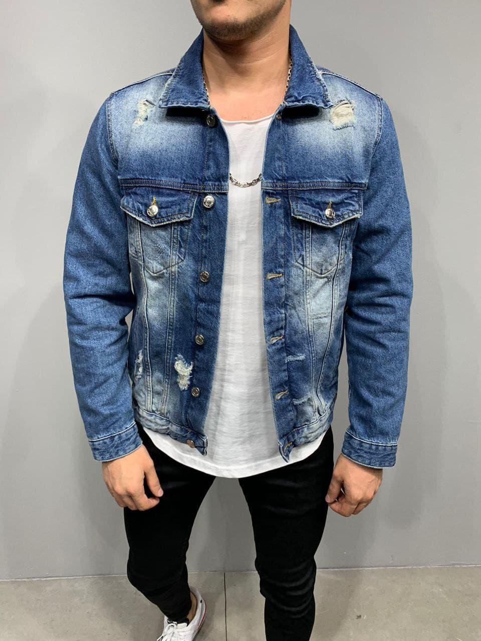 Куртка мужская джинсовая синяя выбеленная рваная