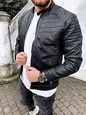 Куртка косуха мужская стильная чёрная кожаная стеганая турция, фото 3