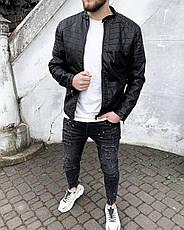 Куртка косуха мужская стильная чёрная кожаная стеганая турция, фото 2