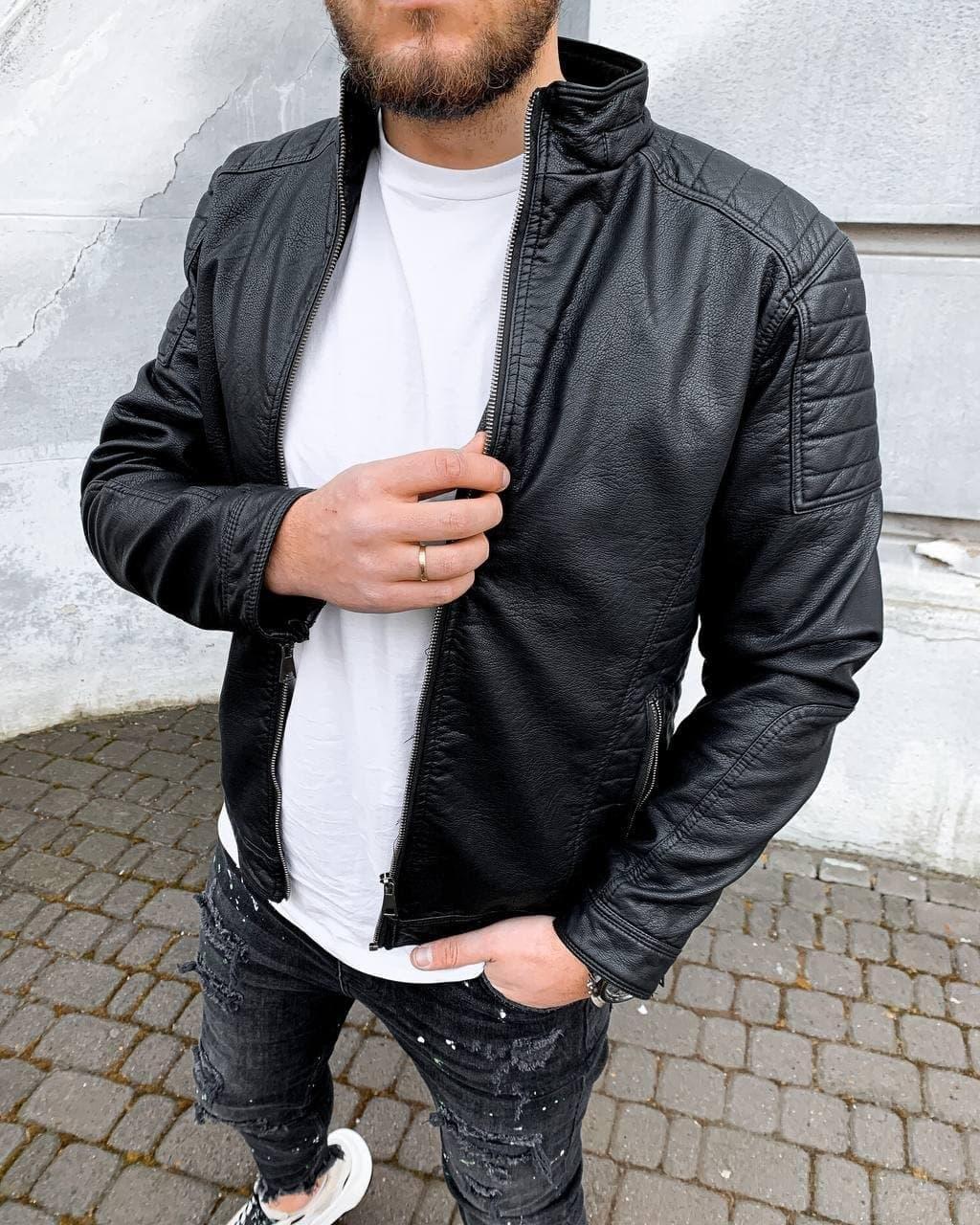 Куртка-косуха чоловіча стильна чорна шкіряна стьобана туреччина