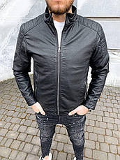 Куртка-косуха чоловіча стильна чорна шкіряна стьобана туреччина, фото 2
