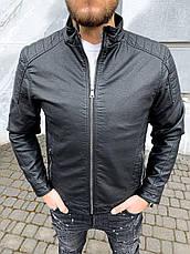 Куртка-косуха чоловіча стильна чорна шкіряна стьобана туреччина, фото 3