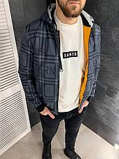 Куртка чоловіча демісезонна стильна двостороння жовта/сіра на синтепоні з капюшоном, фото 3