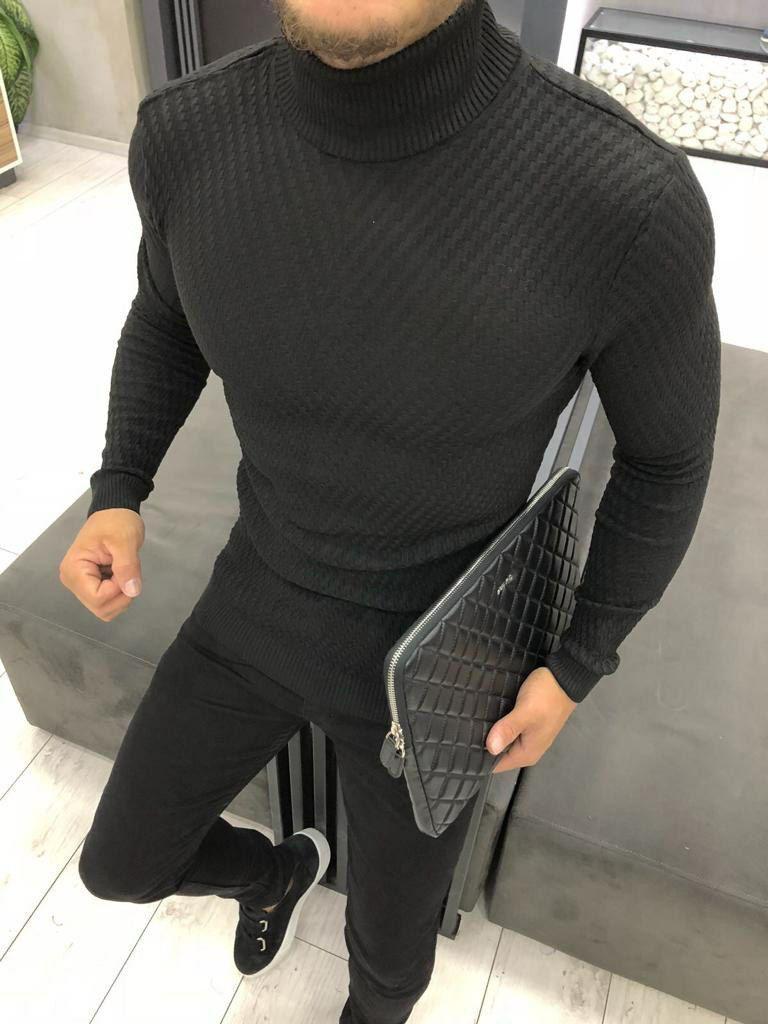 Мужской стильный гольф облегающий чёрный