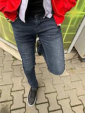 Джинсы мужские сине-серые зауженные стильные повседневные, фото 3