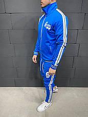 Спортивный костюм мужской зеленый, черный, синий с белыми полосами штаны + олимпийкой, фото 3